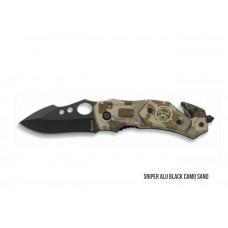 Navalha Sniper Alumínio Black Camo Sand 6,4cm